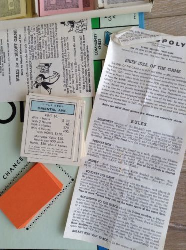 Vintage 1961 Monopoly Parker Brothers Game And 29 Similar Items