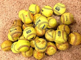 "Large Lot of 18 Yellow 12"" Practice Training Fastpitch Slowpitch Softballs - $46.36"