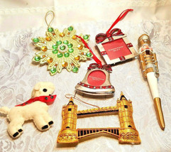 6 Vintage Christmas Ornaments Nut Cracker Picture Frames Lamb Bridge Star Snowfl