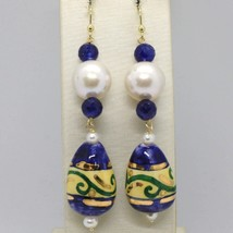 YELLOW GOLD EARRINGS 18K PEARLS SAPPHIRES AND DROP HAND-PAINTED MADE IN ... - $309.69