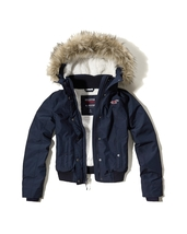 Abercrombie & Fitch Hollister All Weather Sherpa Bomber Jacket XS Navy NWT - $98.00