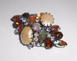 Vintage Rhinestone Cluster Brooch Pin Aurora Borealis Fall Colors - $23.75