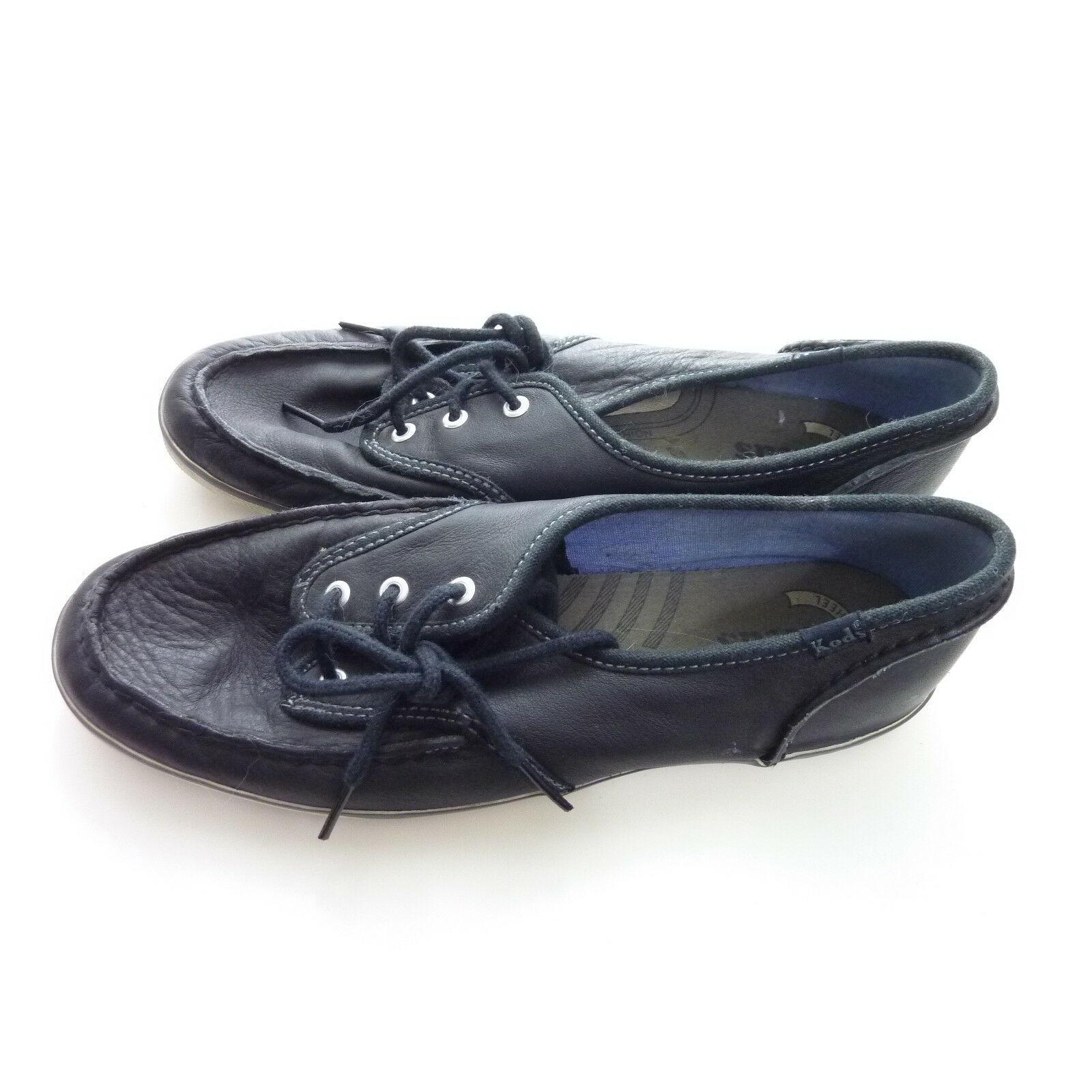 Keds Black Faux Leather Champion Boat Shoe Womens 8