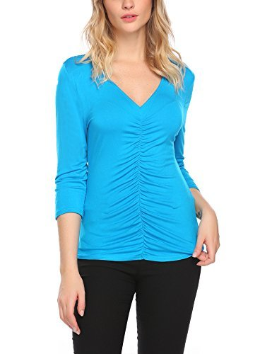 Mofavor Women's V Neck Long Sleeve Ruched Blouse Stretch Tank Tops