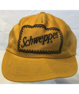 Vintage Mesh Schweppes Ginger Ale Yellow Hat Distressed Broken Bill (17-5) - $19.59