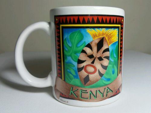 African themed Kenya Coffee Mug with Kenyan Shield designed by Kane!