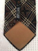 """GEOFFREY BEENE Mens Brown Taupe FLORAL Plaid Necktie Tie 100% Silk 57"""" x 3.75"""" image 3"""