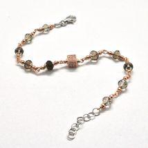 Bracelet in Sterling Silver 925 Laminate Rose Gold with Quartz ospreys and Cu... image 8