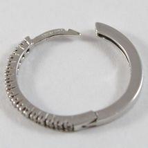 White Gold Earrings 750 18k circle, diameter 1.9 cm, Width 1 MM, Zirconia image 4