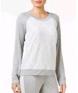 ALFANI LARGE pajama top Lace long sleeve Jacquard-Front Heather Grey  NEW - $14.85