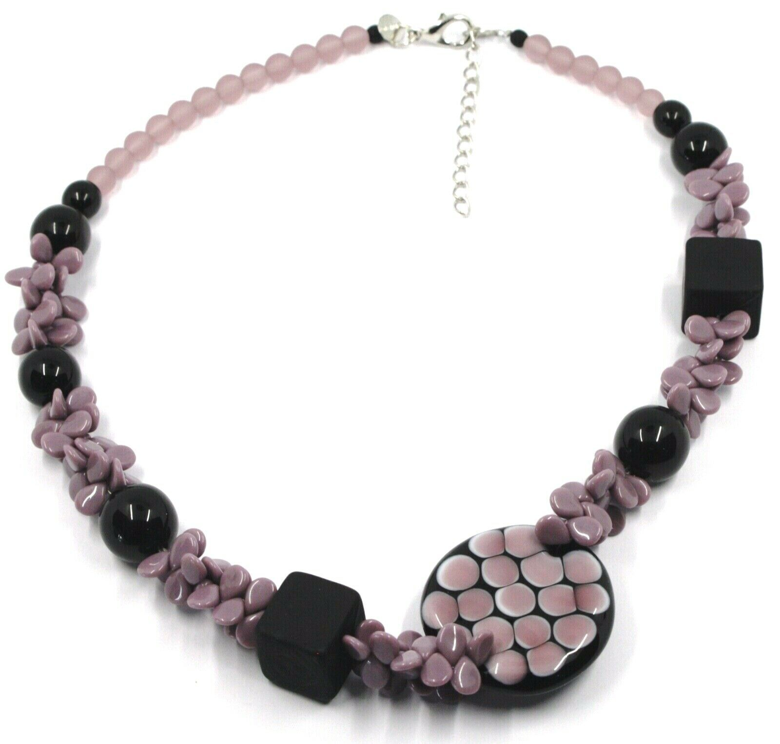 NECKLACE PURPLE BLACK MURANO GLASS BUNCH OF PETAL DROPS SQUARE DISC ITALY MADE