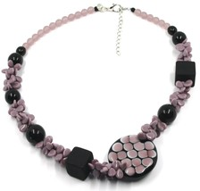 NECKLACE PURPLE BLACK MURANO GLASS BUNCH OF PETAL DROPS SQUARE DISC ITALY MADE image 1