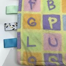 Taggies Pastel Baby Blanket Alphabet Abc Lovey Tags Fleece Tactile Textures - $13.98
