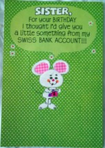 Vintage Hallmark Sister Mouse Cheese Birthday Card 1981 - $5.99