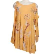 FREE PEOPLE Orange Clear Skies Floral Cold Shoulder Tunic Mini Dress L - $59.99
