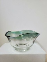 Vintage Teal Ombre Glass Bowl w/ Ruffled Rim Ice Cream Cereal Fruit Dip Scallop - $11.88