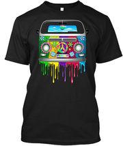 Hippie Van Dripping Rainbow Paint - Peace, Love Hanes Tagless Tee T-Shirt - £17.45 GBP