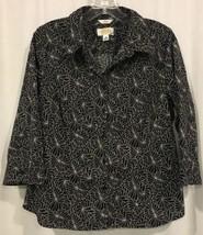 Talbots Petites Stretch Blouse M Top Black White Swirled 3/4 Sleeve Cotton Artsy - $15.70