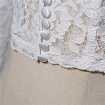 Women Retro Square Neck Lace Shirt Button Down Wedding Bridal Lace Crop Shirts image 8