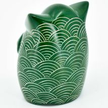 Vaneal Group Hand Carved Kisii Soapstone Green Owl Figurine Handmade in Kenya image 3