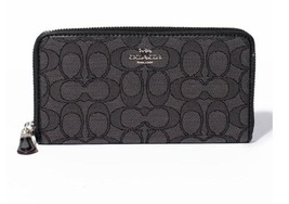 COACH Black Outline Signature Accordion Zip Around 53539 Wallet NWT - $72.00