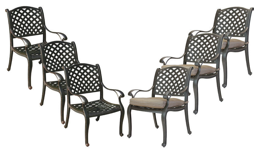 Patio dining chairs set of 6 Nassau cast aluminum patio furniture outdoor Bronze