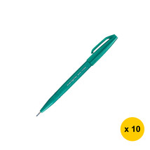 Pentel Caligraphy Brush Sign Pen (10pcs), Turquoise Green, SES15C - $25.99