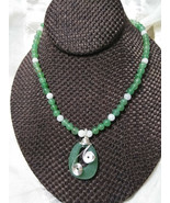Aventurine Necklace Pendant is Sliver Wire Wrapped Moonstone Accents Han... - $42.00