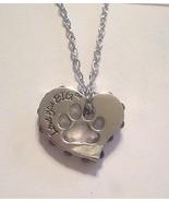 GNN Purple-stone-edged silver LOVE YOU BIG heart with paw cutout chain n... - $6.92