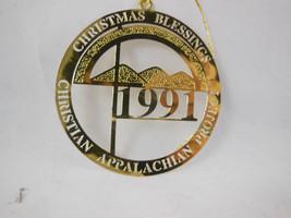 "Christian Appalachian Project Metal Gold Plate Christmas Ornament 2.5"" Diameter - $3.46"