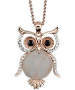 Latigerf Jewelry Women's Lucky Owl of Night Pendant Necklace and Long Chain - £52.20 GBP