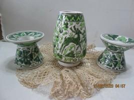 Neofitoy Keramik Vase.& Candle Holders Hand Made GREECE Art Pottery (4) - $25.74