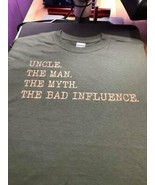 Uncle The Man The Myth The Bad Influence Men T-Shirt Dark Heather Cotton... - $16.82+