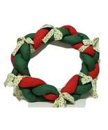Vintage Christmas Wreath Handmade Large Braided Fabric  Calico Stuffed w... - $30.11
