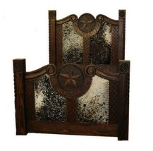 Rustic Dark Stain Cowhide Prieta Grande Bed King or Queen Cabin Lodge We... - $1,583.99+