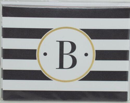 Rosanne Beck 211 1814 Folded Note Black White Striped Letter B Pkg 10