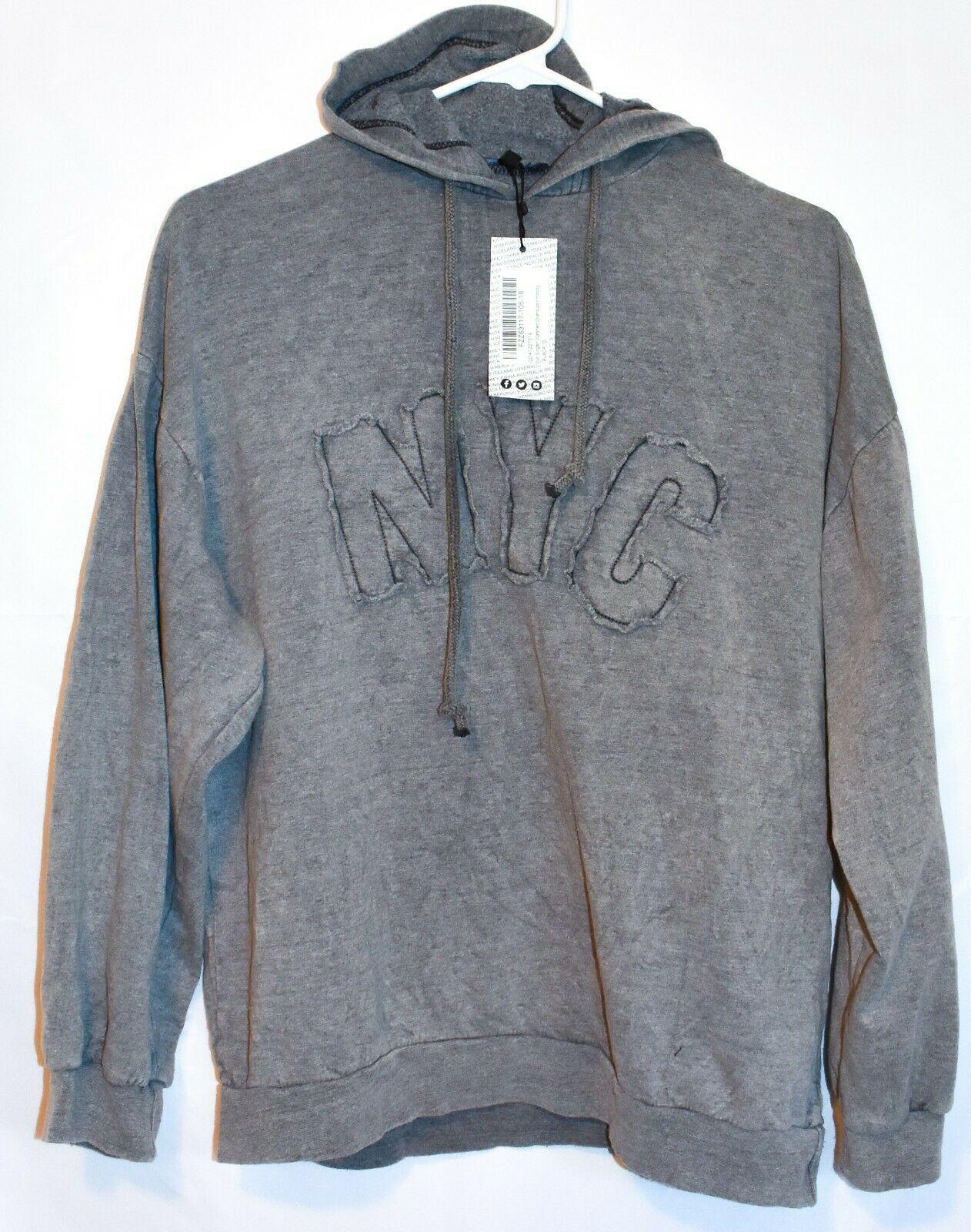 Boohoo Women's NYC Slogan Washed Gray Oversized Hooded Sweatshirt Size US 6 NWT