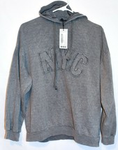 Boohoo Women's NYC Slogan Washed Gray Oversized Hooded Sweatshirt Size US 6 NWT image 1