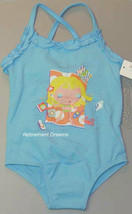 Infant Girls 12M bathing suit blue one piece ruffle  - $7.00
