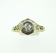Art Deco 14k Gold Filigree Round Genuine Natural Diamond Ring .10ct (#J832) - $325.00