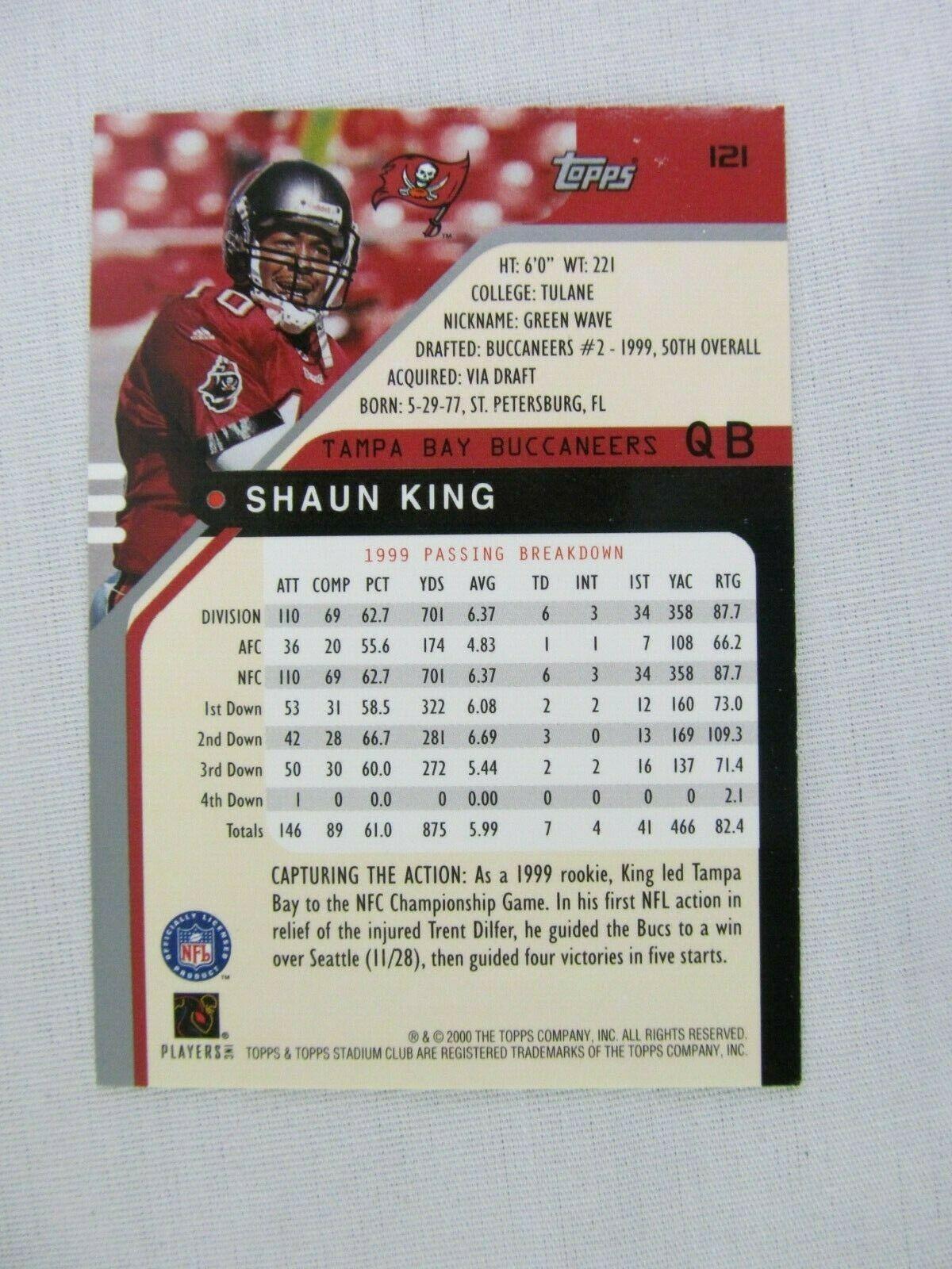 Shaun King Tampa Bay Buccaneers 2000 Topps Football Card 121