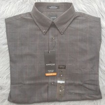 Arrow Mens Stripe Long Sleeve Dress Shirt Medium 15- 15-1/2 NWT Brown Gr... - $13.09