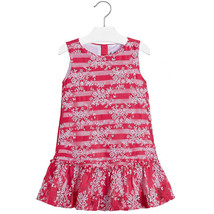 Mayoral Little Girls 2T-9 Floral Embroidered Stripe Lace Social Dress