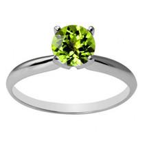 Damen Einzigartig 14K Wg 6mm Rund Peridot Solitaire Ring in Allen Größen - £110.35 GBP+