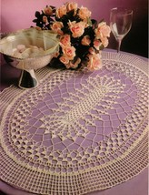 Ovalissimo Oval Table Top Mat Winsome Scrolls Golden Palms Doily Crochet... - $6.99