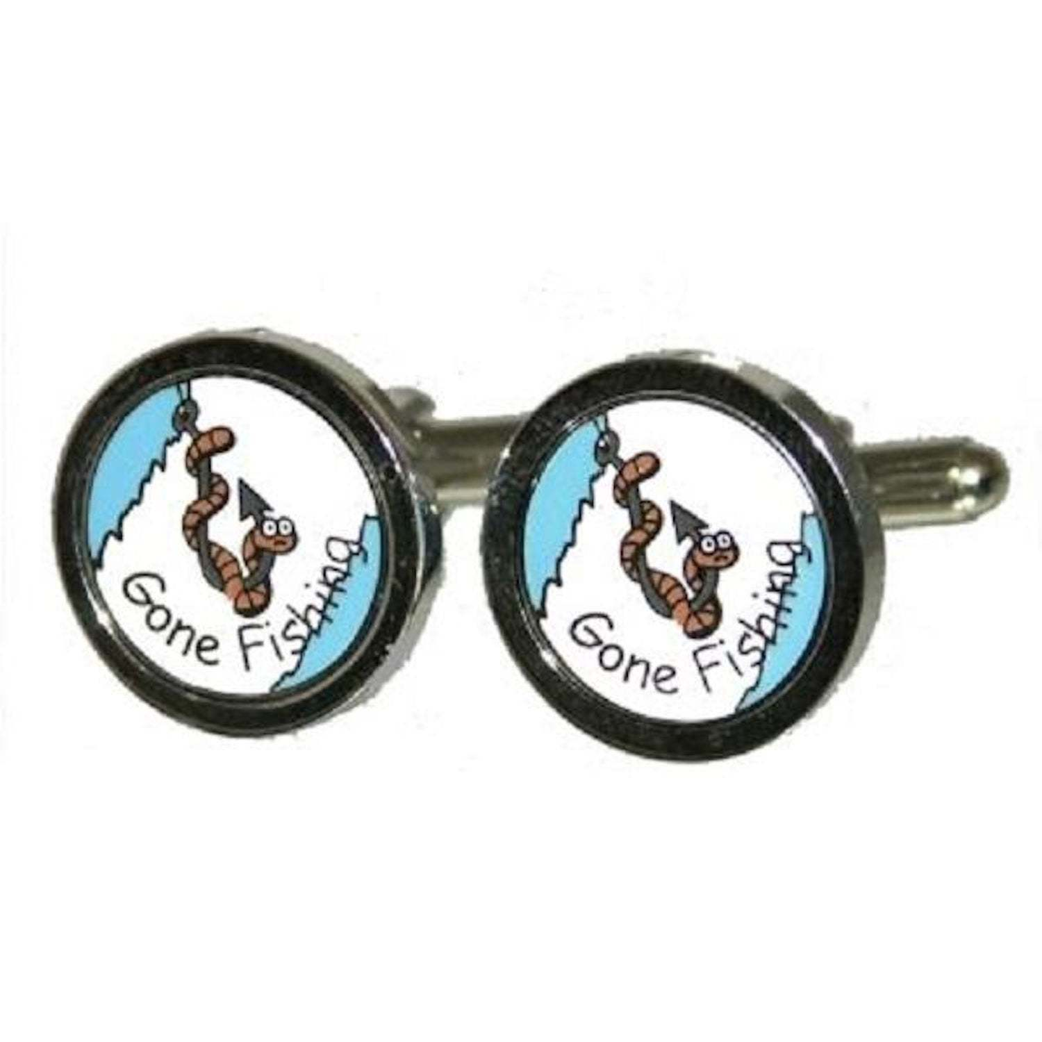 Round gone fishing Cufflinks, silver with  design on cufflinks gift boxed