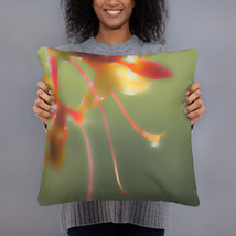 Green Throw Pillow, Floral Throw Pillow, Flowers Accent Pillow, Cushion ... - $29.50