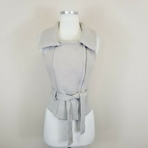 Ann Taylor Loft Size XS Zip Up Belted Chunky Sweater Vest Taupe Beige - $24.99