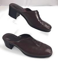 Clarks 70975 Dark Brown Leather Slip On Clogs Heels Shoes Women's 7.5M - $19.75