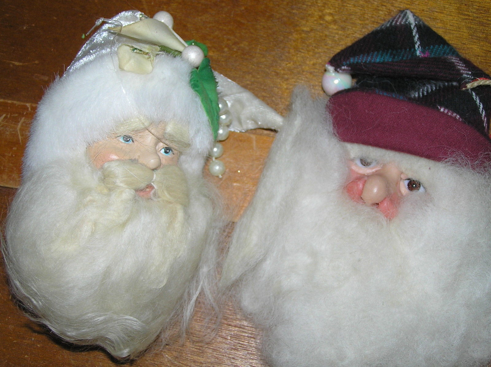 Estate Lot of 2 Large Fabric & Cotton Dimensional Santa Claus Head Christmas